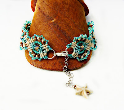 Micro macrame bracelet with starfish charm by Sherri Stokey of Knot Just Macrame.