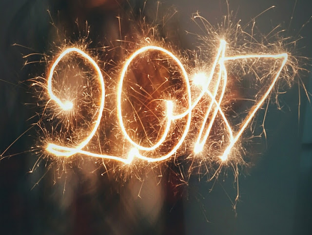 happy new year 2017 written with a sparkler