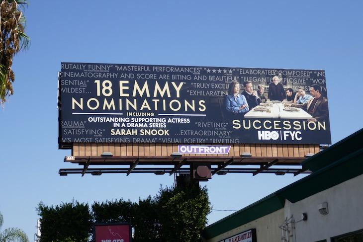 Succession 2020 Emmy nominee billboard