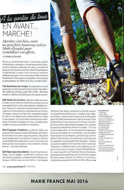 Article dans Marie-France Mai 2016 page 2 Bungy Pump