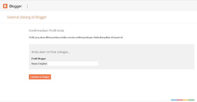 Membuat profil Blogger baru ketika pertama kali membuat blogspot