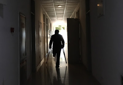 Mr. Lin, walking to his room in the Sichuan 81 Rehabilitation Center. ©Chunchun Wang