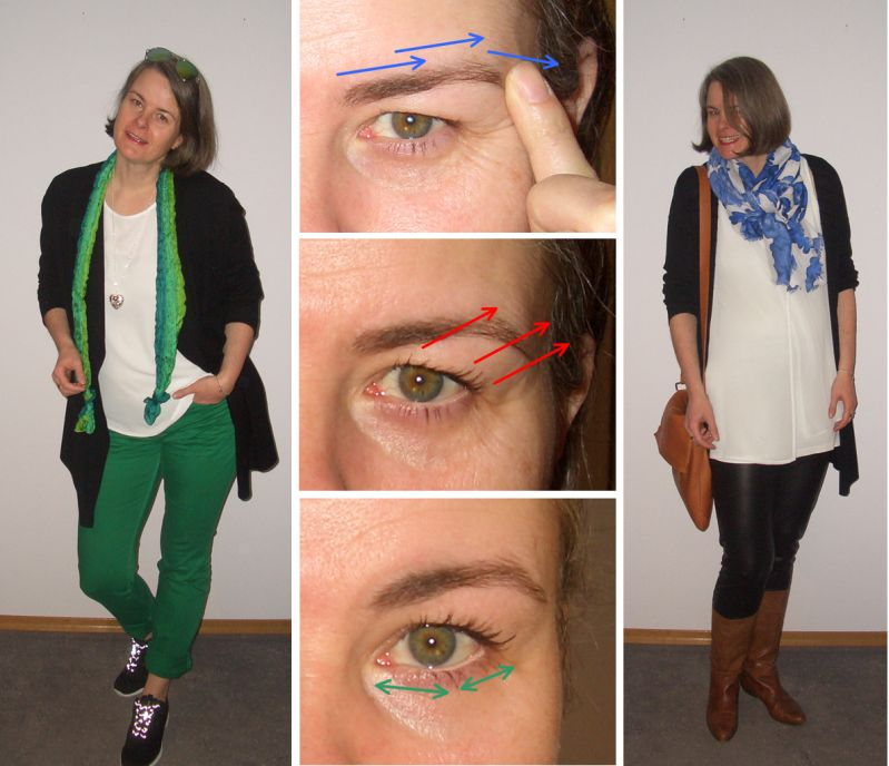 Collage: Greenery, wache Augen, Ledderlegging frühlingshaft