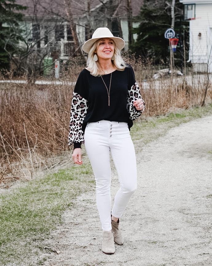waffle knit leopard sleeve top