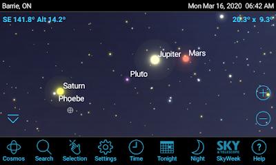 screen snap from SkySafari showing Saturn, Pluto!, Jupiter, and Mars