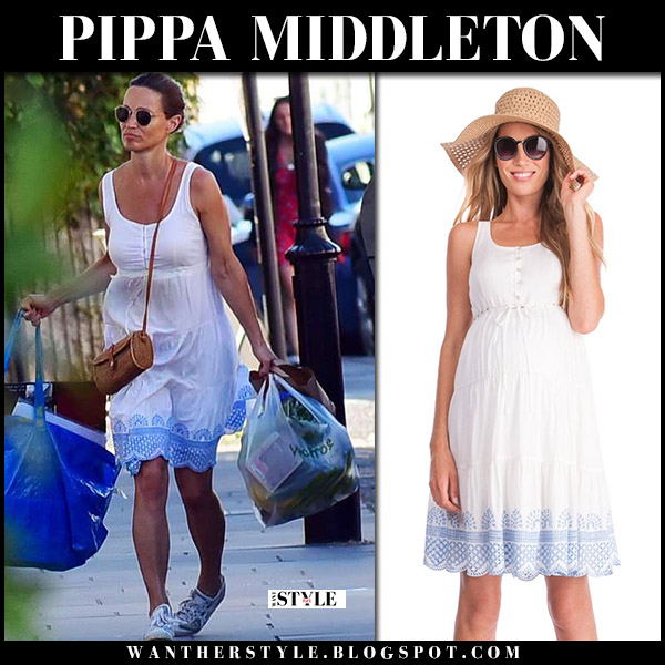 Pippa Middleton in white embroidered dress seraphine and sneakers onitsuka tiger royal family maternity summer style july 2