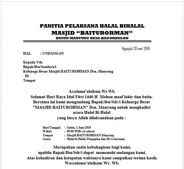 Contoh Surat Undangan Halal Bihalal