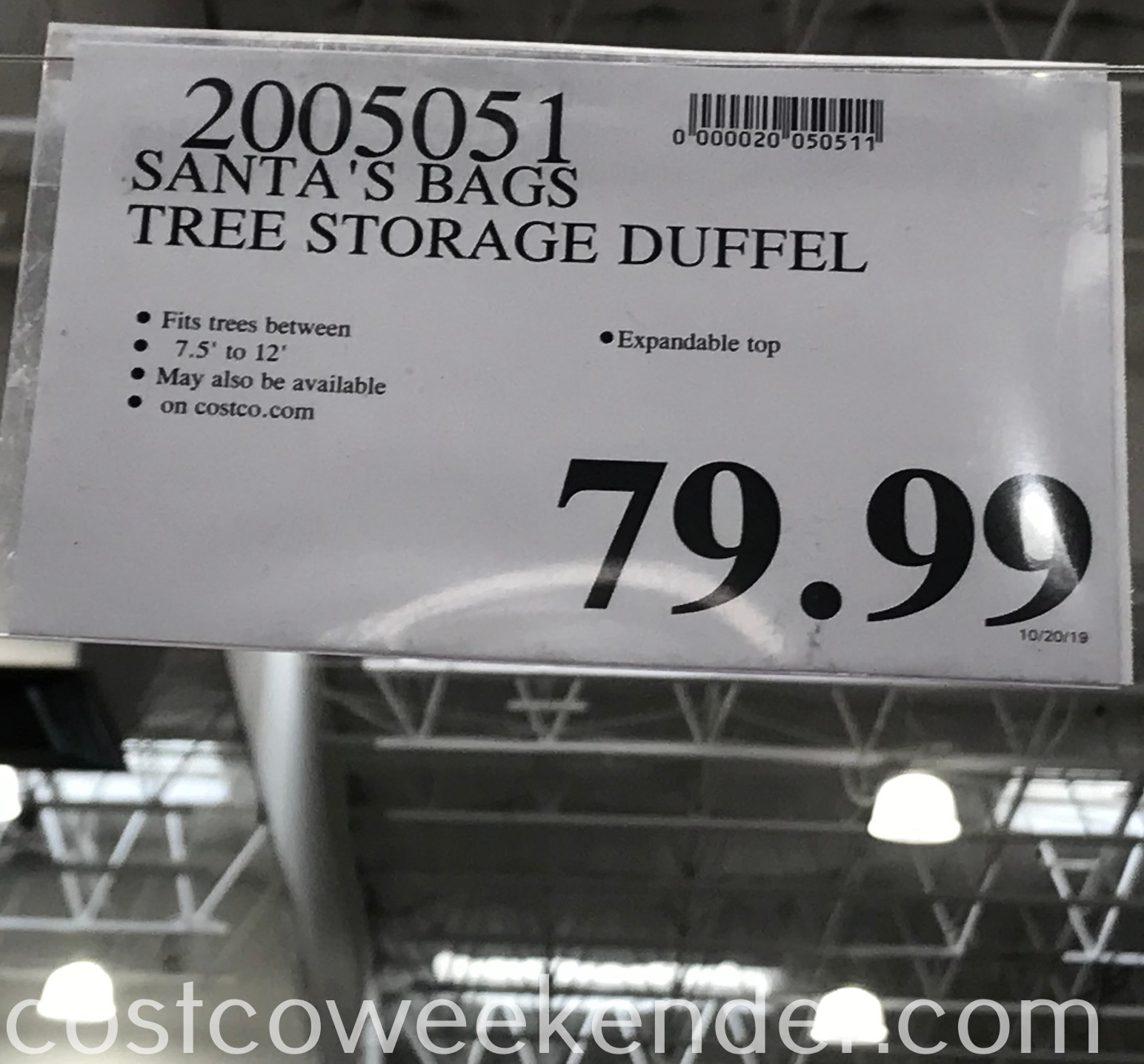 Costco 2005051 - Deal for the Santa's Bags Tree Storage Duffel at Costco