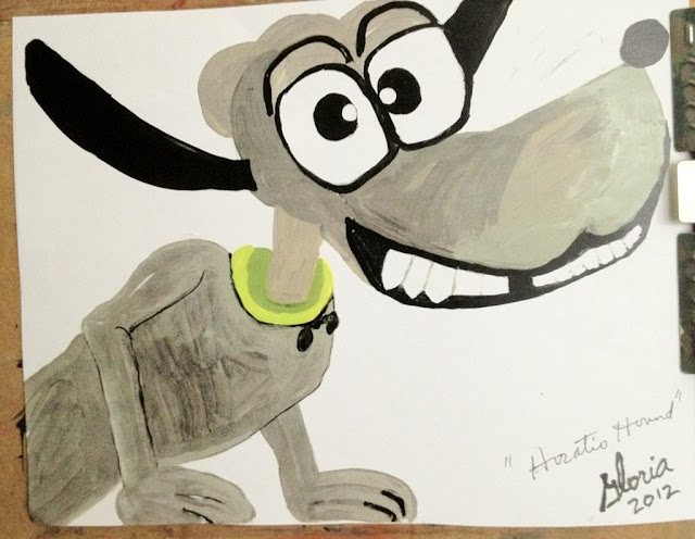 Horatio Hound cartoon by Gloria Poole in yr 2012; acrylics
