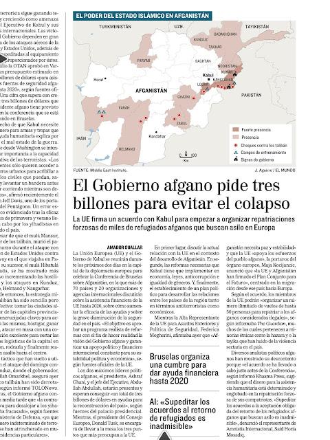Página de El Mundo con este titular: El Gobierno afgano pide tres billones de dólares para evitar el colapso
