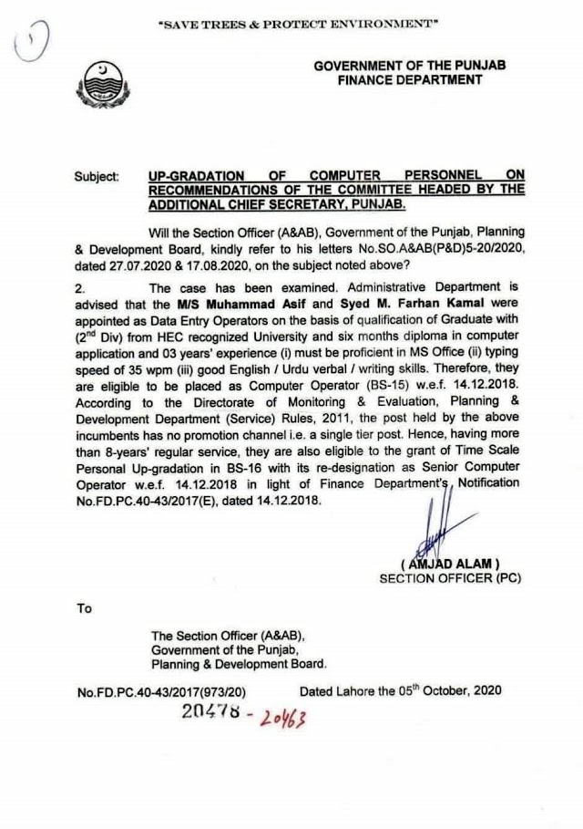 UP-GRADATION OF A COMPUTER PERSONNEL ON RECOMMENDATIONS OF THE COMMITTEE HEADED BY THE ADDITIONAL CHIEF SECRETARY PUNJAB