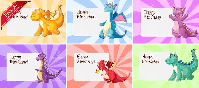 Plantilla de tarjetas de cumpleaños en vectores decorados con dinosaurios