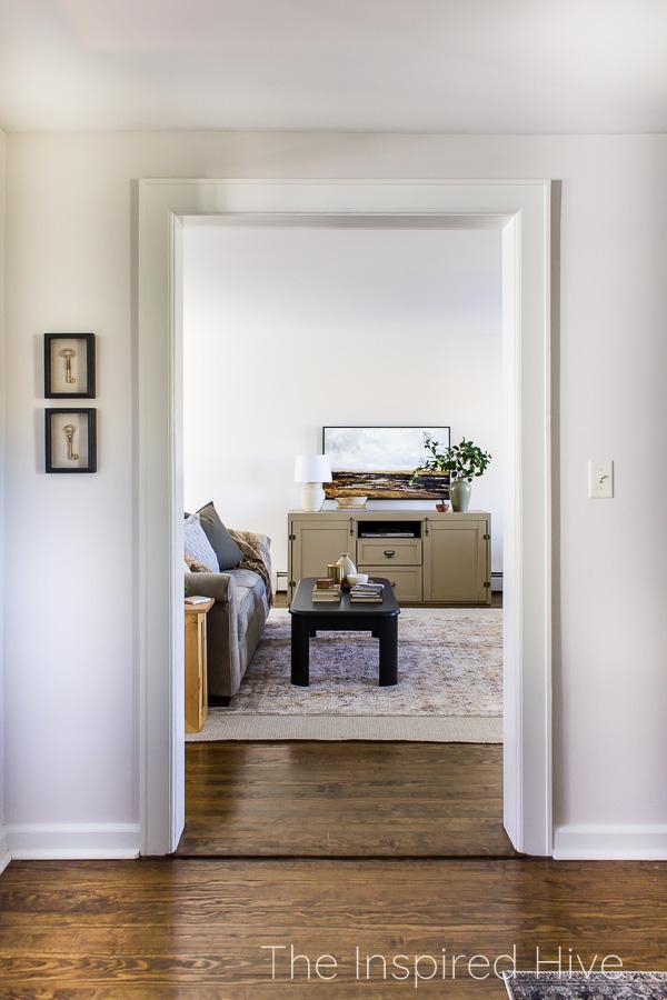 Doorway to traditional living room