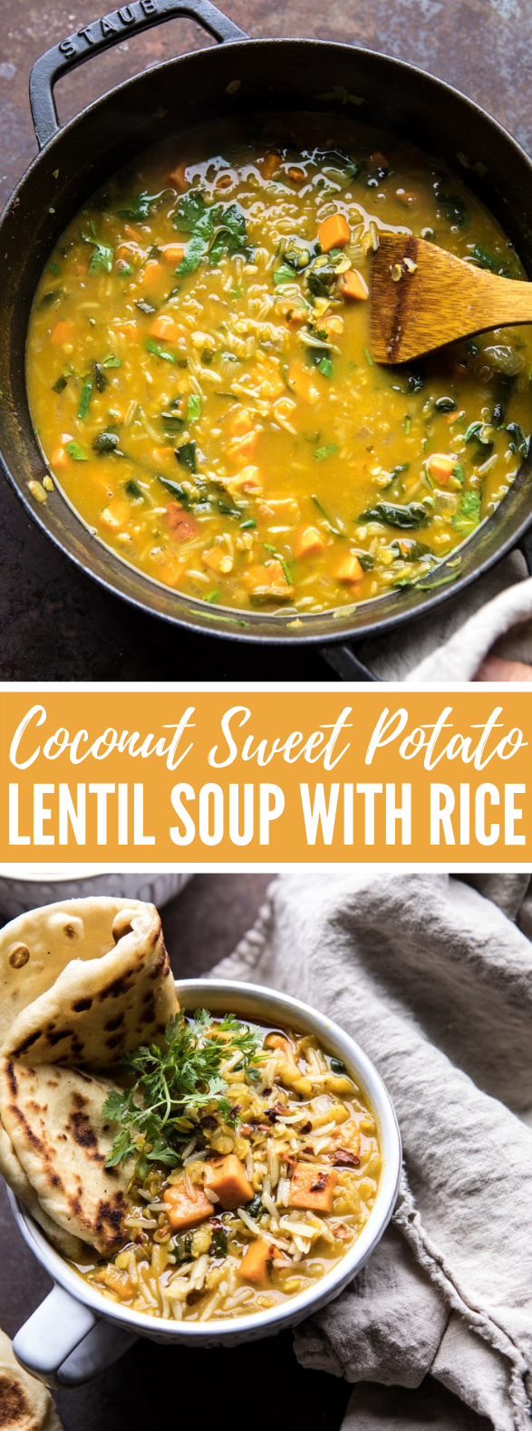 Coconut Sweet Potato Lentil Soup with Rice #vegetarian #lunch