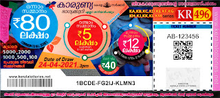 Kerala Lotteries Results 24-04-2021 Karunya KR-496 Lottery Result