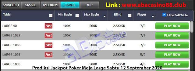 prediksi jackpot poker meja large sabtu 12 september 2020