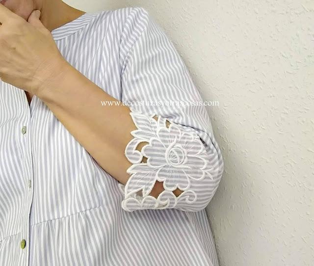 blusa de rayas con bordado especial