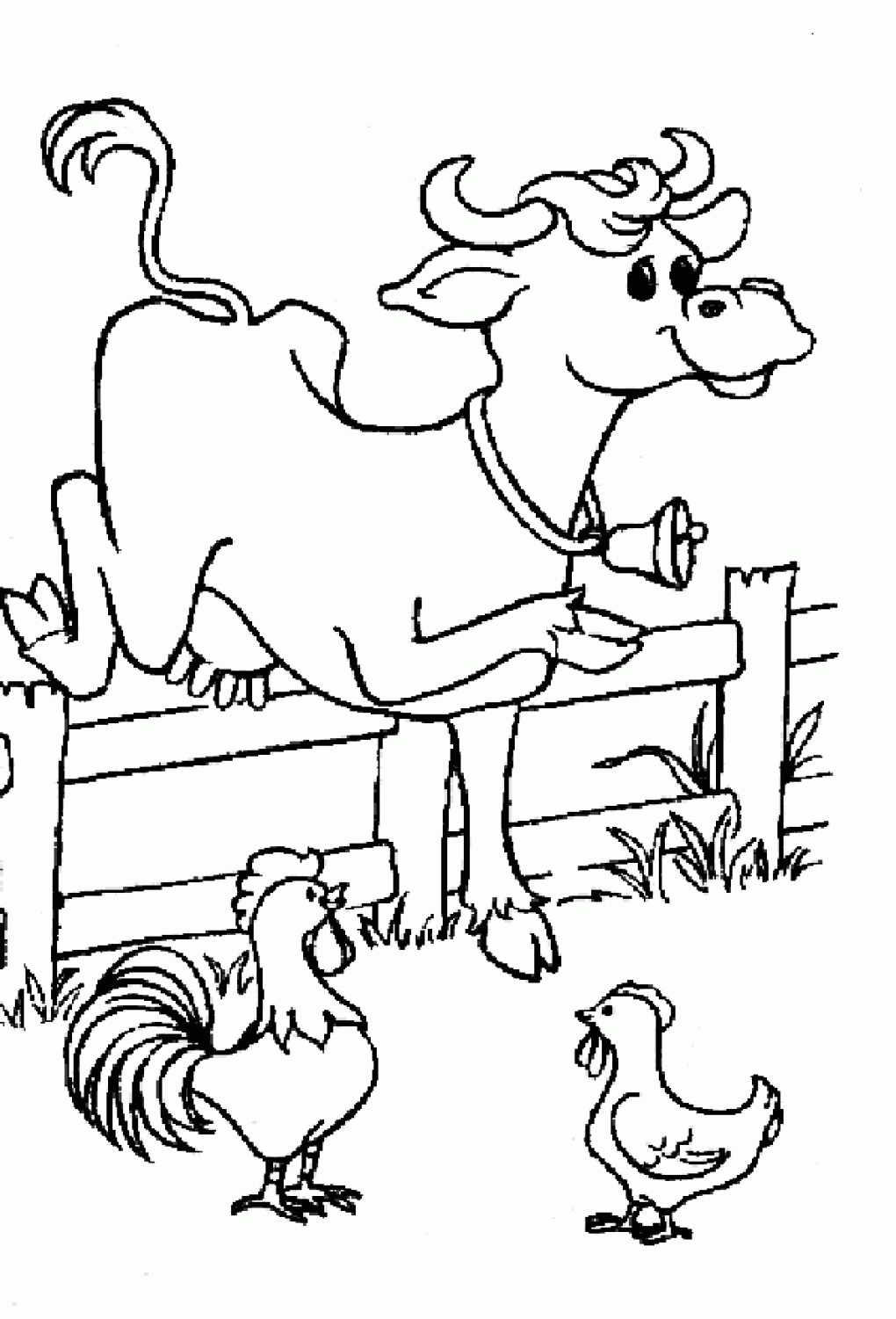 cow and chicken coloring pages