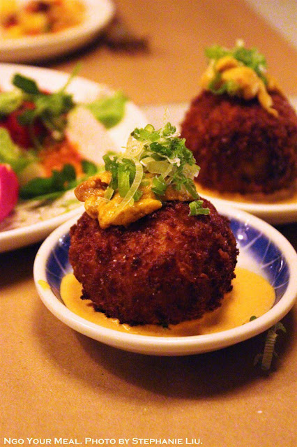 Crispy Uni Paella Ball at Dinnertable in New York City