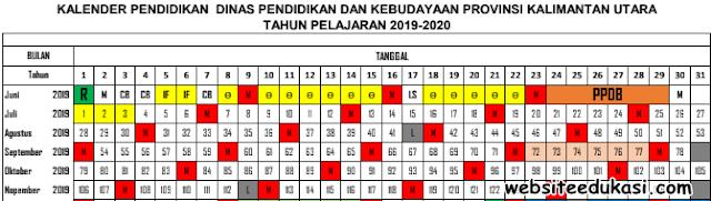 Kalender Pendidikan Provinsi Kalimantan Utara Tahun 2019/2020