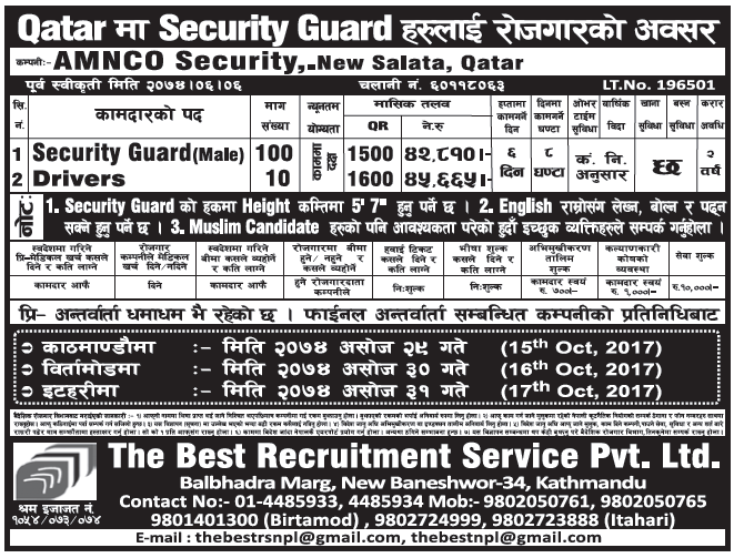 Jobs in Qatar for Nepali, Salary Rs 45,665