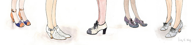 vintage 1930s watercolor fashion illustration shoes heels