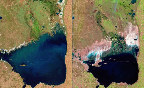 You Still Think Climate Change Is A Hoax These 20 Before-And-After Photos Will Leave You Speechless! - SHRINKING MAR CHIQUITA LAKE, ARGENTINA, 1998 AND 2011
