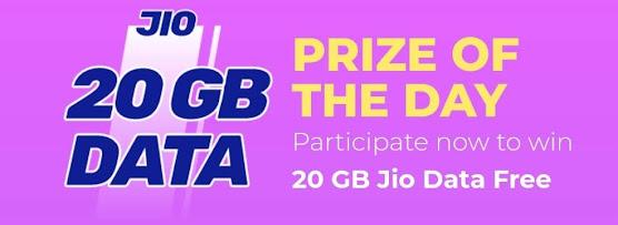 Play Quiz & Win 20GB Free Data Recharge on Jio