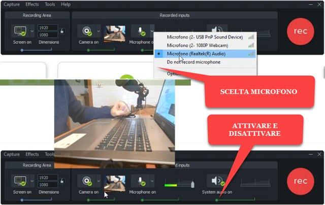attivazione e disattivazione di microfono e webcam