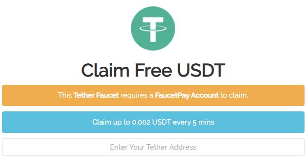 Cara mendapatkan faucet Tether (USDT) gratis setiap 5 menit