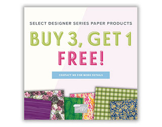 Buy 3 Get 1 Free DSP , Stampin Up, July paper offer