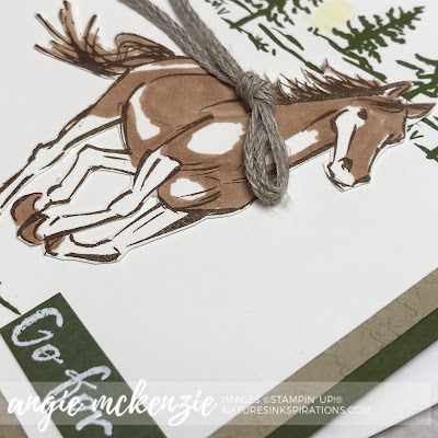 By Angie McKenzie for Ink & Inspiration Blog Hop; Click READ or VISIT to go to my blog for details! Featuring Let It Ride stamp set, Scripty 3D Embossing Folder; #letitridestampset #scripty3dembossingfolder #horse #thegreatoutdoors #bloghops #inkandinspirationbloghop #encouragementcard #watercolorpencils #bronzeblendsmarker #cardtechniques