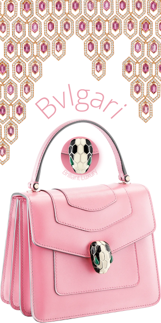 Bvlgari Serpenti Forever crossbody bag in flamingo quartz calf leather & Serpenti earrings #brilliantluxury