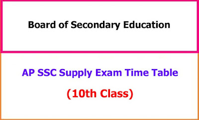 AP 10th Class Supplementary Exam Time Table