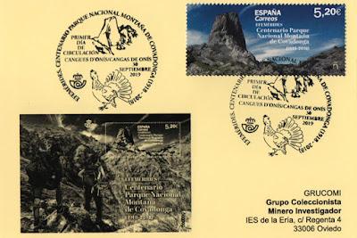 Tarjeta del GRUCOMI con el matasellos PDC del Parque Nacional de la Montaña de Covadonga