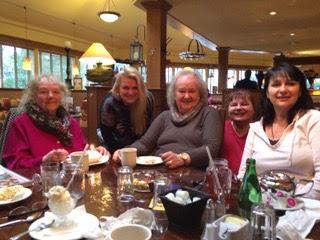 Mom, Aunty Galina, Joy, Faith, Hope having lunch together