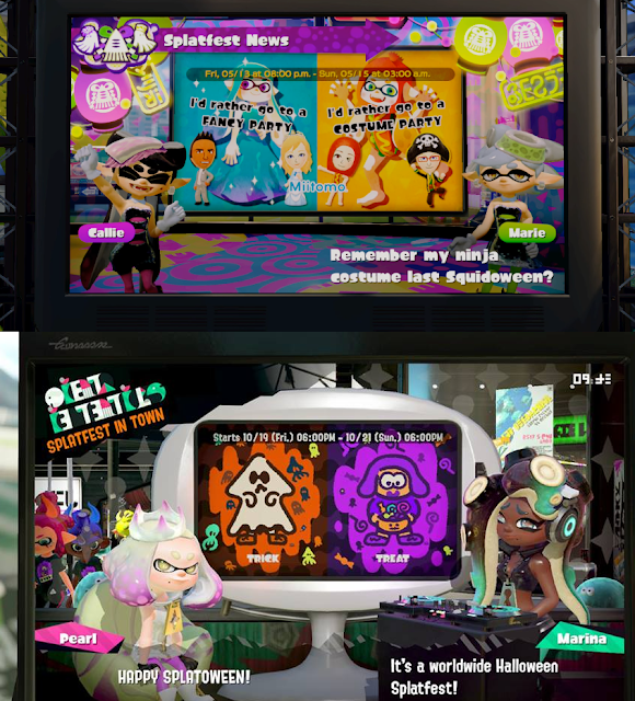 Splatoon 2 Wii U Nintendo Switch Splatfest Squidoween Splatoween Halloween Marie Pearl Marina