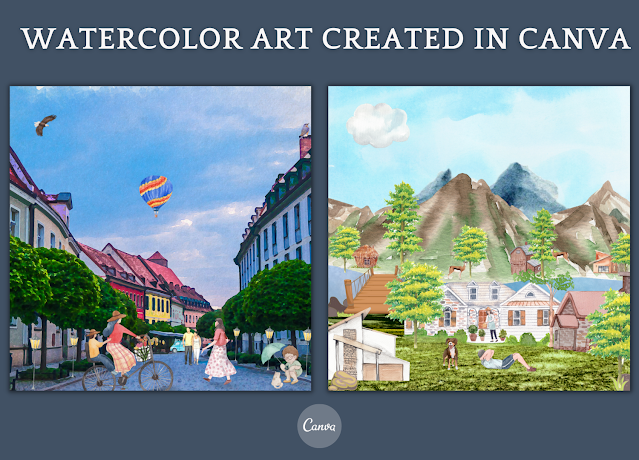 How to Create Watercolor Art designs in Canva ?