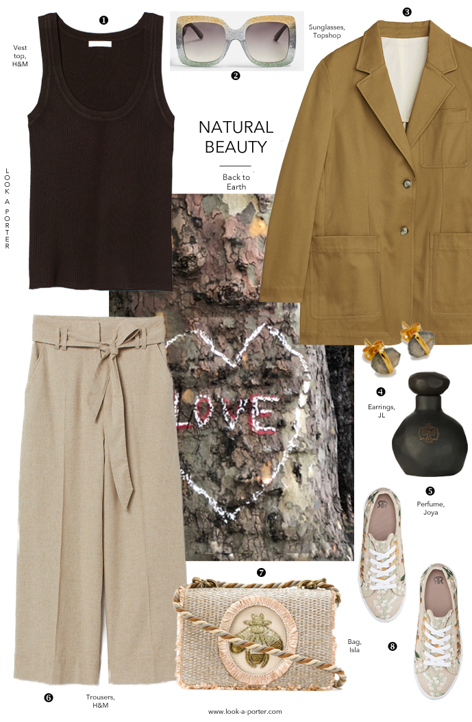 Casual summer outfit inspired by the colours of nature, olive, brown, linen, green styled with floral trainers, olive jacket, linen trousers and stone earrings with Arket, H&M, Joya, La Redoute, Isla bag and Topshop sunglasses for look-a-porter.com style & fashion blog