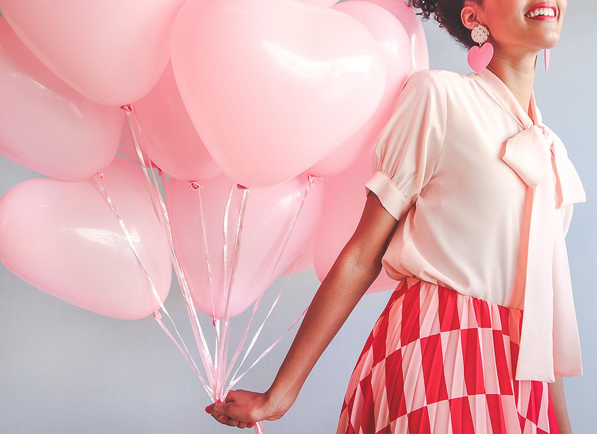 corações balao cor de rosa - pink heart balloon shaped