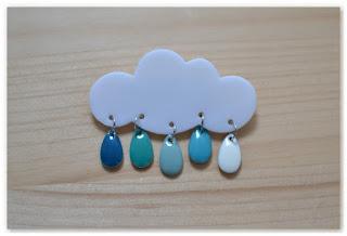 broche nuage et gouttes bleu clair
