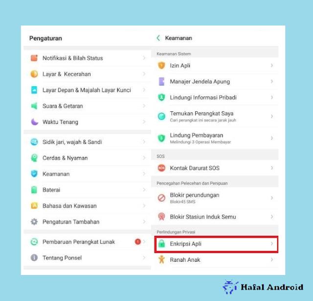 Setelan Enkripsi Aplikasi HP Oppo
