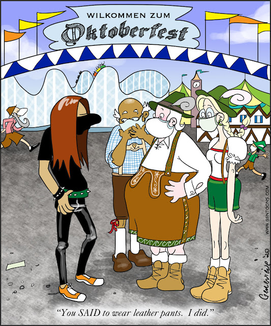 """The entrance to the vast Oktoberfest fair.  Three people in traditional bavarian clothing (including lederhosen) are staring in shock at a skinny young man with long hair, a black tshirt, and tight black pants.  He says """"You SAID to wear leather pants.  I did."""""""