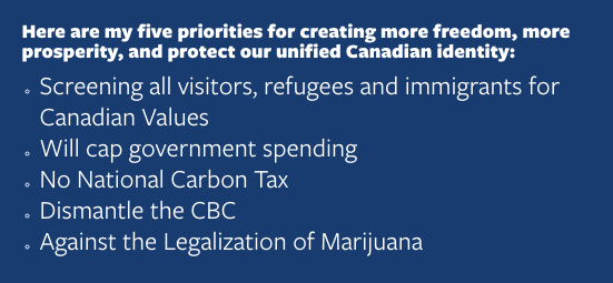 An image listing Kellie Leitch's five priorities.