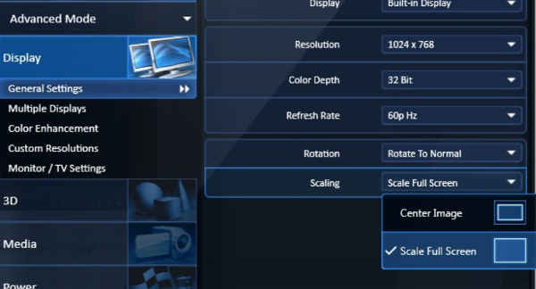 pengaturan intel untuk mengatur layar tv