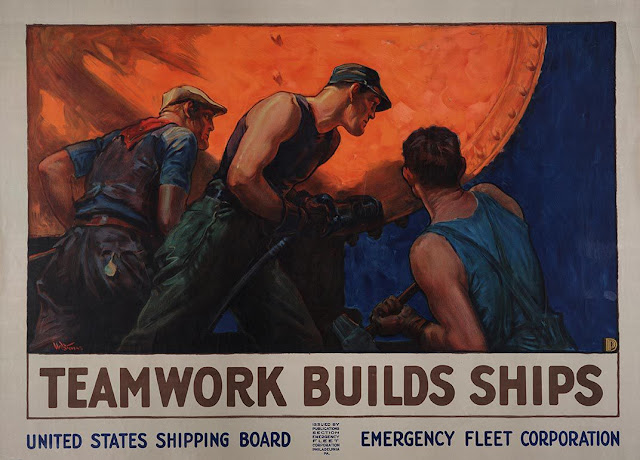 Teamwork Builds Ships, ca. 1918, William Dodge Stevens.
