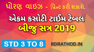Ekam Kasoti Time table 2019 2020