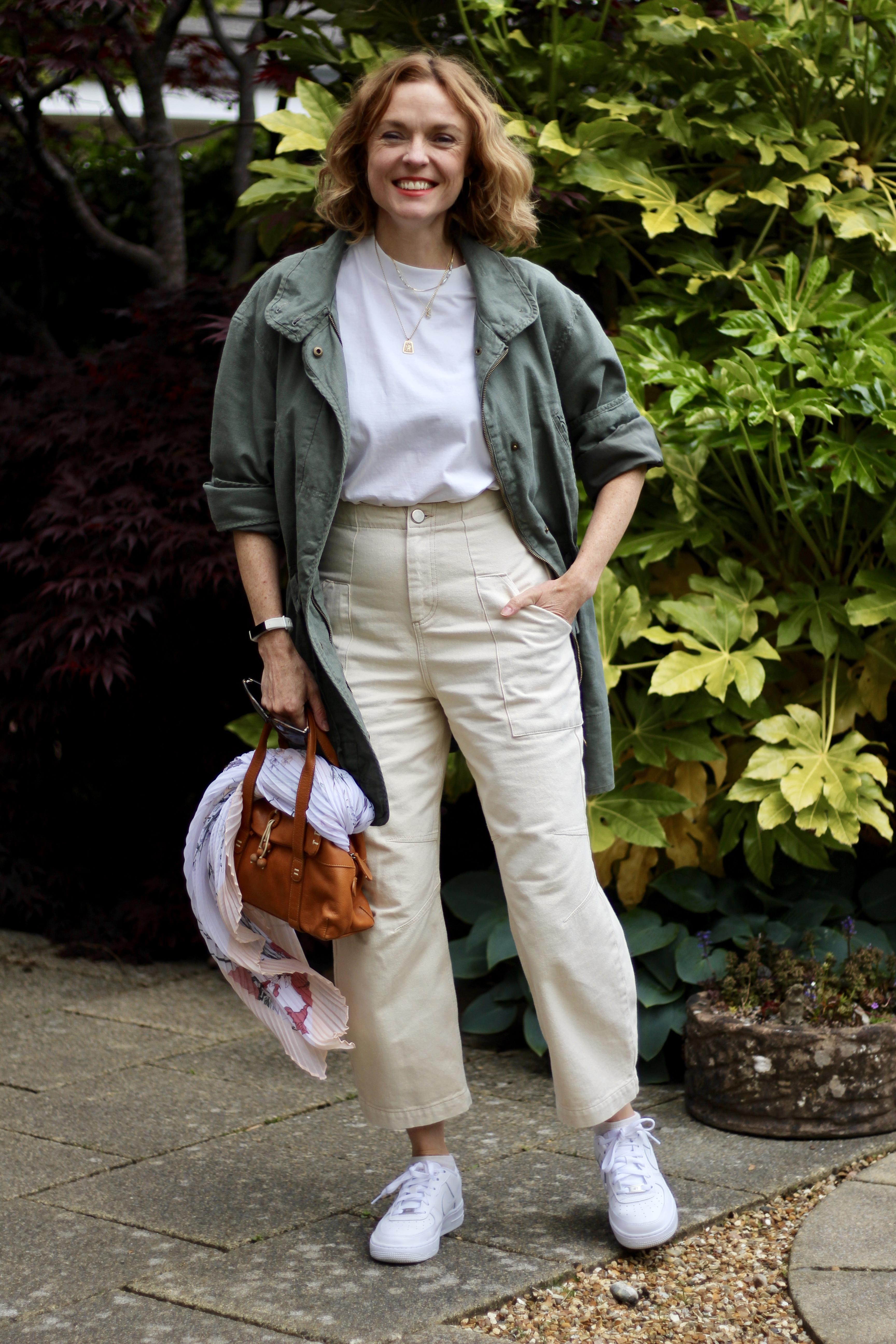 Cream Jeans, White Tee and a Khaki Coat | Fake Fabulous