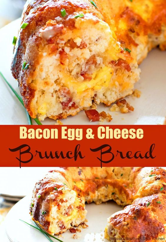 Bundt Pan Bacon Egg and Cheese Brunch Bread #breakfast #bacon #egg #cheese #bread