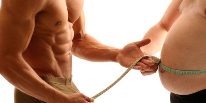The difference in volume between fat and muscle